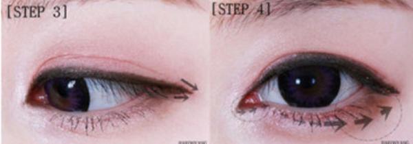 Bước 3: Viền eyeliner đenmảnh sát chân mí mắt trên.Bước 4: Tán phấn mắt màu nâu đồng ở mí mắt dưới, tô đậm ở đuôi mắt.