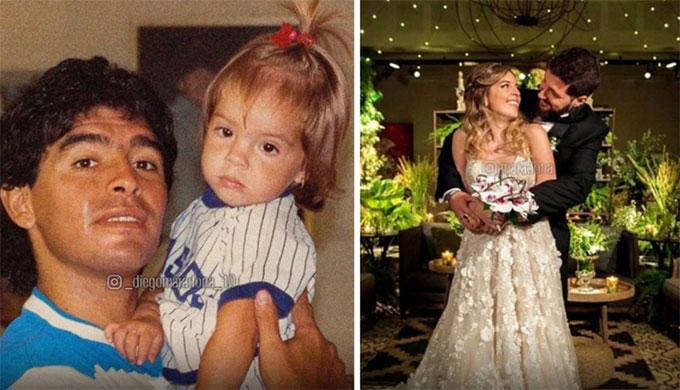 Maradona và con gái Dalma từ khi con nhỏ đến lúc lấy chồng. Ảnh: NS.