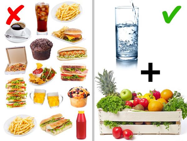 Tích cực uống nước và ăn hoa quả, rau xanh