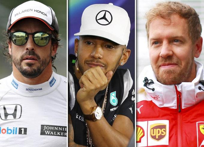 Alonso, Hamilton và Vettel cùng nằm trong top 10 tay đua nhận lương cao nhất làng F1. Ảnh: NN.