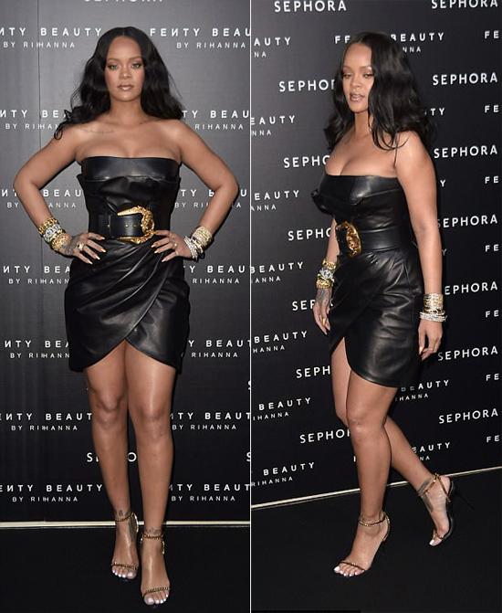Rihanna o ép vòng một với váy da bó sát - 3