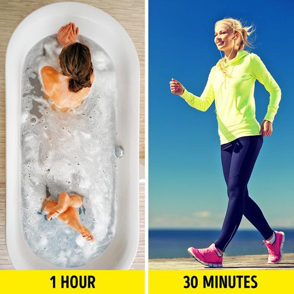 Tắm nước nóng Theo nghiên cứu của các nhà khoa học tại Đại học Loughborough, Anh, tắm nước nóng trong một giờ có thể giúp tiêu hao tới 130 calories, tương đương với 30 phút đi bộ.