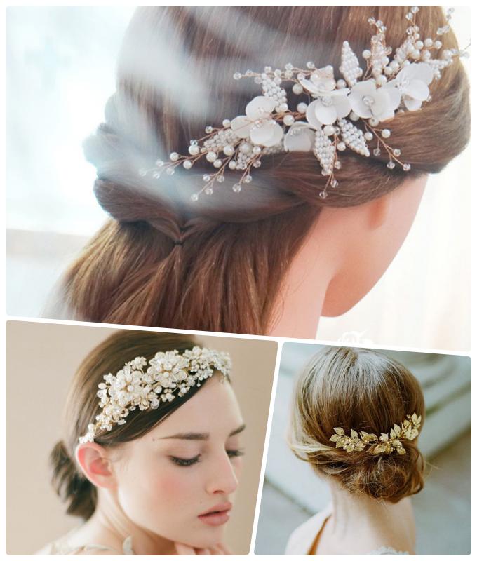 Lược cài tóc kết hoa tạo nên điểm nhấn cho mái tóc cô dâu.