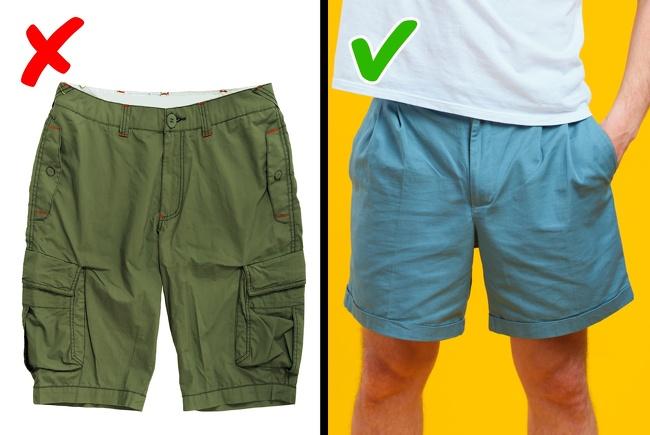 Quần short với những chiếc túi hộp có thể khiến phần thân dưới của bạn trông kém thon gọn. Kiểu quần này phù hợp cho các buổi dã ngoại, leo núi hơn so với việc bạn diện nó ra phố.