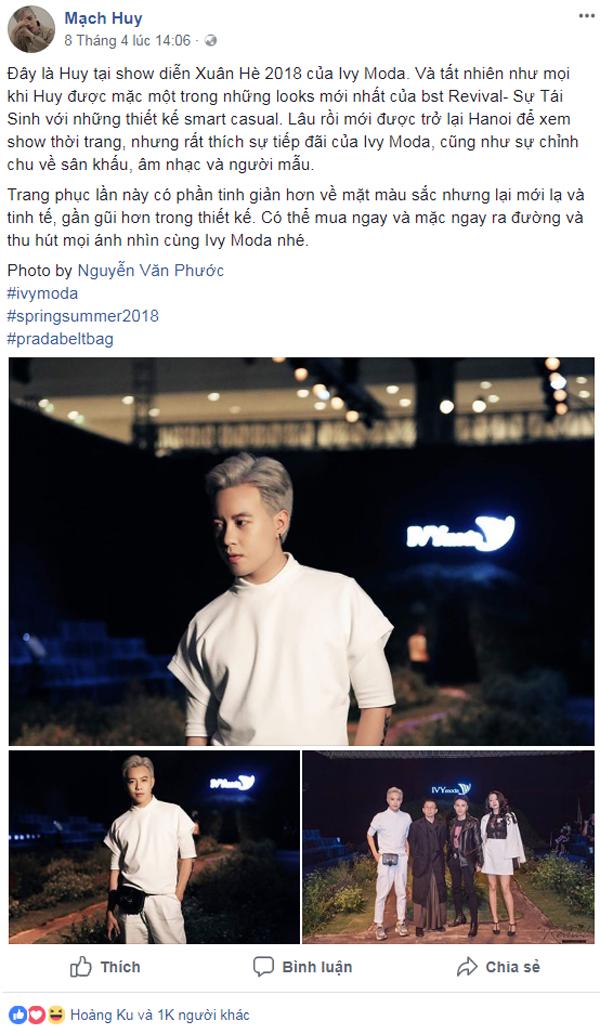 Stylist Mạch Huy dành nhiều lời khen ngợi cho show diễn của IVY moda.