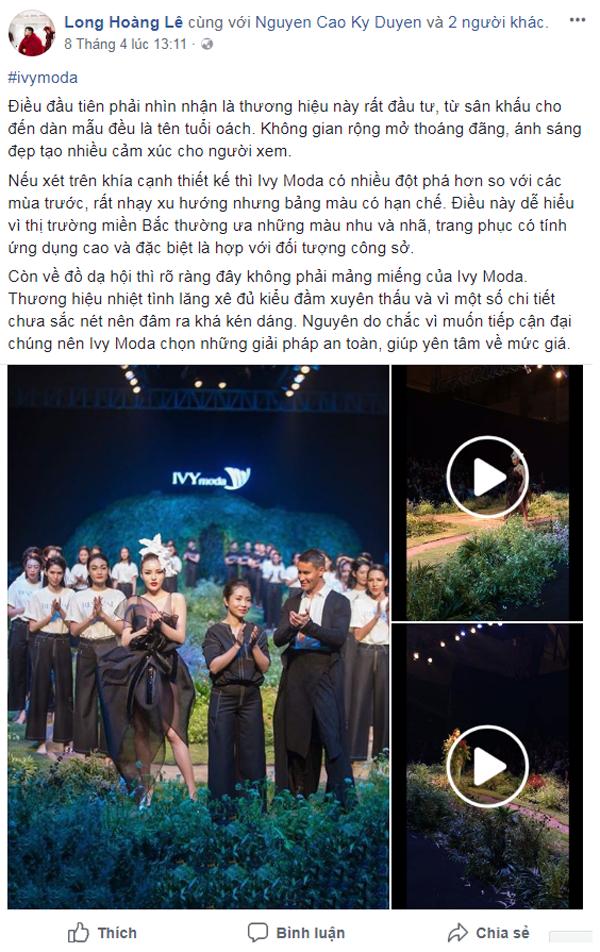 Biên tập viên thời trang Lê Hoàng Long dành những lời có cánh cho sân khấu thoáng đãng của show diễn, đồng thời cũngcó những góp ýthực tế cho trang phục.