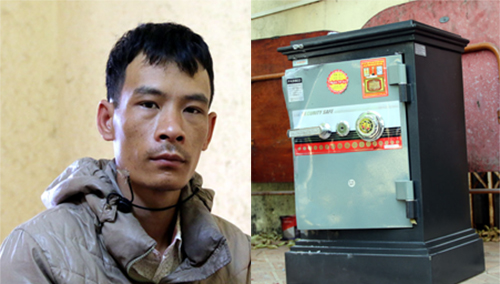 Trần Văn Lưu dùng xà beng phá két sắt.