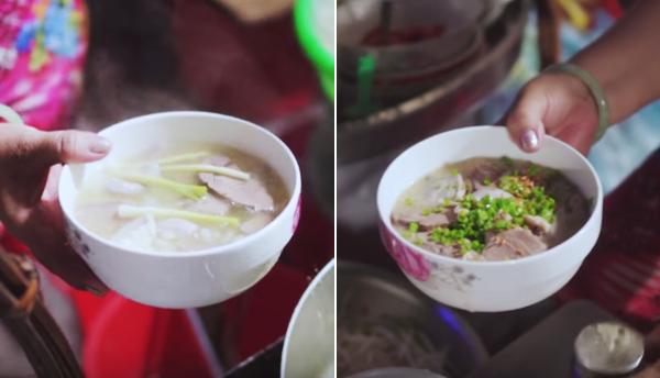 Bánh canh và cháo lòng là hai món ăn chính của quán dì Hương bên hông chợ Bến Thành.