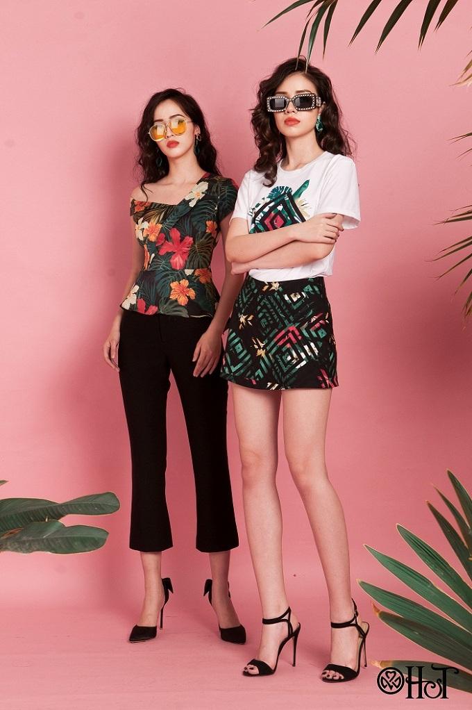 Những cô nàng chuộng phong cách trẻ trung có thể kết hợp áo phông với chân váy màu sắc.