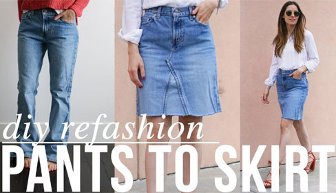 Tự chế chân váy denim hợp mốt từ quần jeans cũ