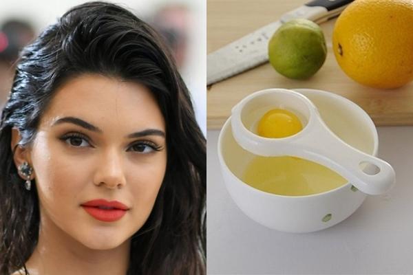 Kendall Jenner cũng sử dụng lòng trắng trứng nhưng thêm vài giọt nước cốt chanh để trị mụn.