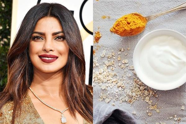 Priyanka Chopra sử dụng công thức làm đẹp truyền thống của phụ nữ Ấn Độ là dùng sữa chua trộn với yến mạch và một chút nghệ