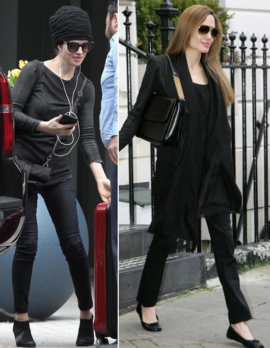 Trong bộ đồ đen và đeo kính râm, nữ giáo sư 48 tuổi được nhận xét khá giống Angelina Jolie. Minh tinh 43 tuổi cũng thường vận đồ đen ra phố. Hai người cùng có vóc dáng cao gầy, gương mặt quyến rũ dù không son phấn.