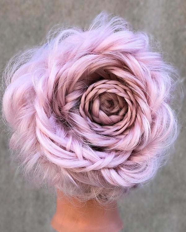 Tuyệt tác tóc tết hình hoa hồng đốn tim phái đẹp - 1