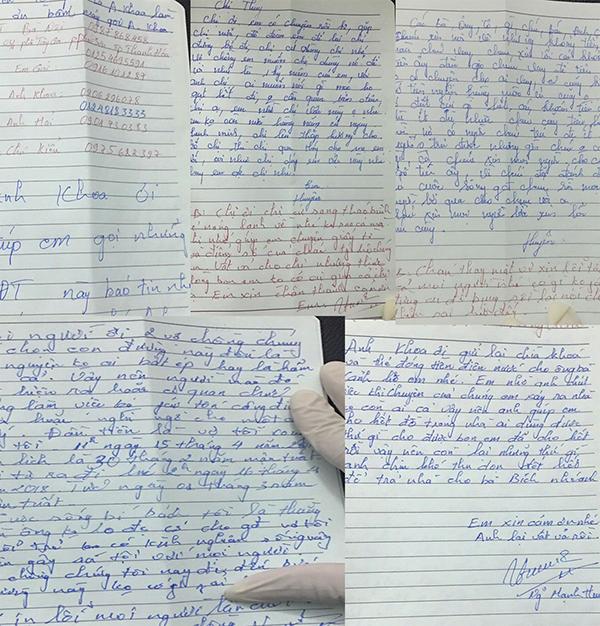 Những lá thư tuyệt mệnh cảnh sát thu giữ tại hiện trường.