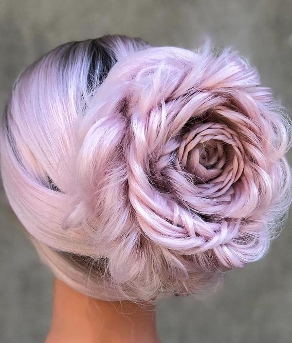 Tuyệt tác tóc tết hình hoa hồng đốn tim phái đẹp - 3