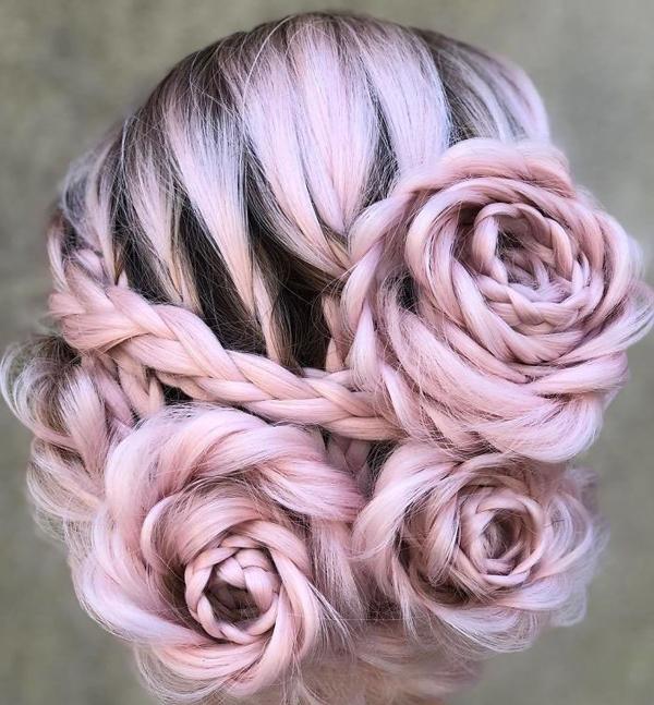 Tuyệt tác tóc tết hình hoa hồng đốn tim phái đẹp - 4