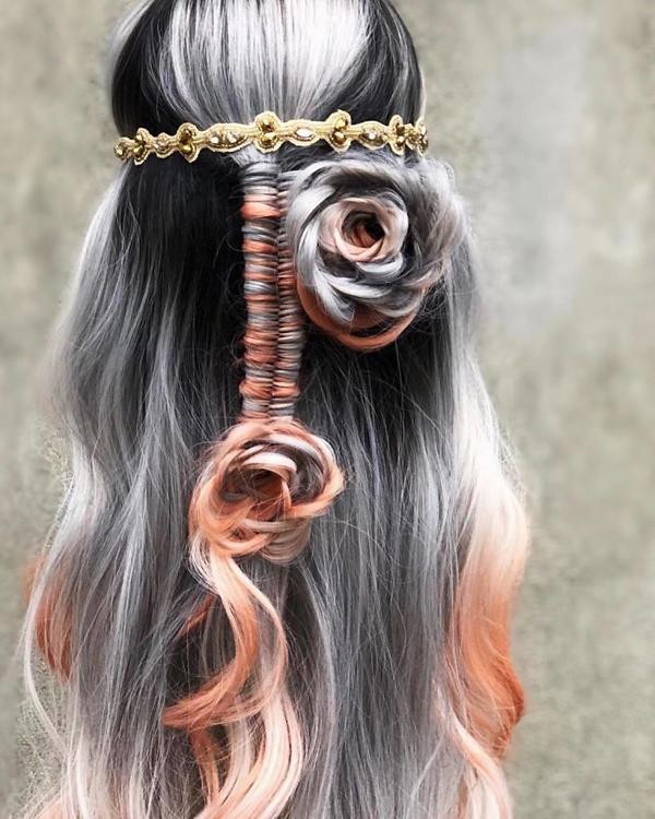 Tuyệt tác tóc tết hình hoa hồng đốn tim phái đẹp - 6