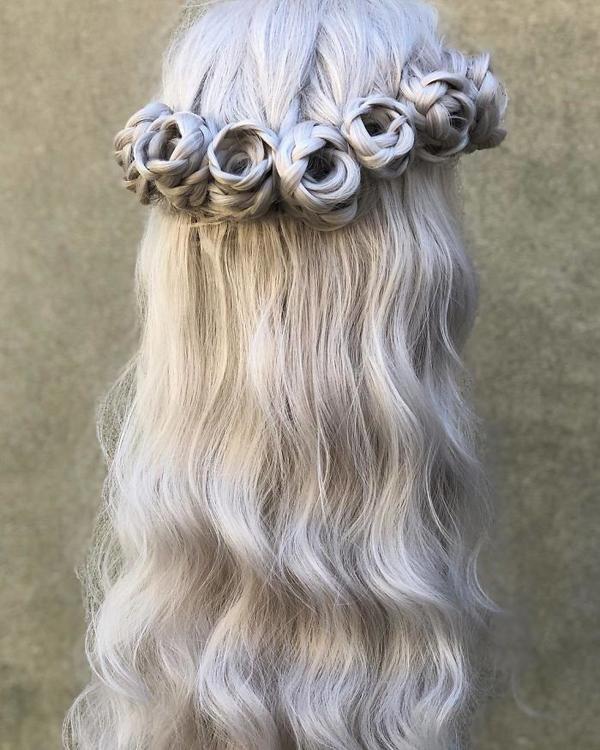 Tuyệt tác tóc tết hình hoa hồng đốn tim phái đẹp - 7