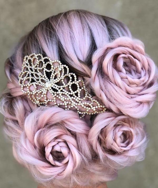 Tuyệt tác tóc tết hình hoa hồng đốn tim phái đẹp - 8