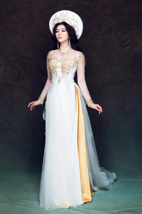 Nếu cô dâu là người yêu thích phong cách cổ điển, vẻ đẹp truyền thống nhưng không muốn mình trông thật điệu đà và trẻ trung trong ngày cưới thì những mẫu áo thêu màu đồng ánh kim là dành cho bạn.
