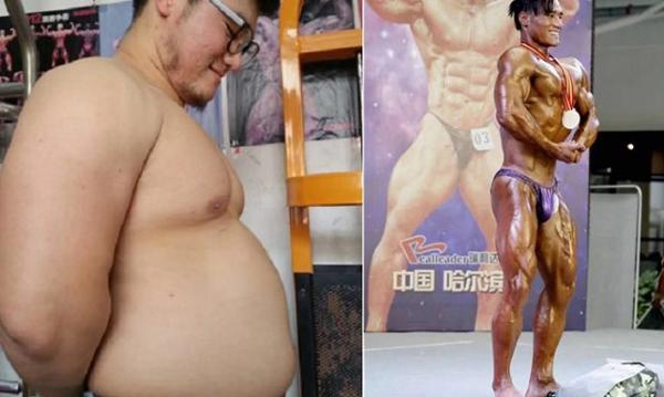 Zhang Shuai trước và sau khi giảm 30 kg. Ảnh: China Daily