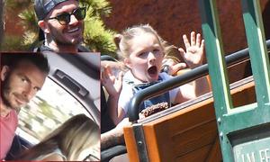 Harper ngồi trong lòng bố, 'tập' lái xe ôtô