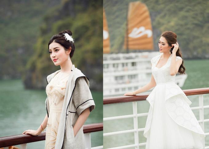 Mỗi trang phục là sự kết hợp hài hòa giữa gam màu vàng, kem cùng sắc trắng nhẹ nhàng của chuỗi vòng cổ ngọc trai, tôn lên nét đẹp sang trọng và đài các của phái đẹp.