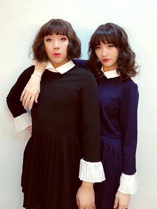 Hai chị em Hariwon - Trấn Thành diện đồ đôi