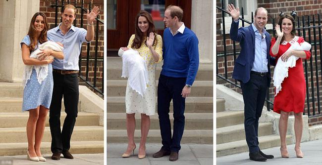 Trong cả ba lần xuất viện sau sinh, Kate đều diện váy của nhà thiết kế Jenny Packham. Bộ váy đỏ trong lần sinh thứ ba của Kate vừa qua được cho là trùng hợp với tông màu mà Công nương Diana từng lựa chọn để xuất hiện sau khi sinh Hoàng tử Harry năm 1984.