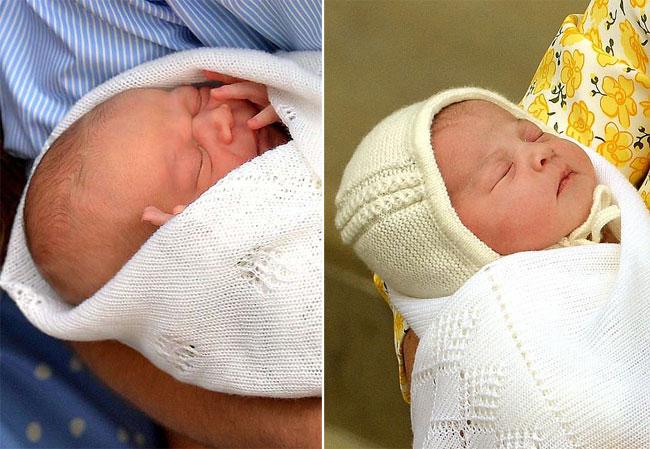 Hoàng tử George trong lần ra mắt khi mới chào đời năm 2013 (bìa trái) và công chúa Charlotte sinh năm 2015 (bìa phải)