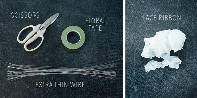Dụng cụ cần có: kéo làm vườn (loại có thể cắt dây thép), băng dính, dây thép nhỏ, vải ren trắng.