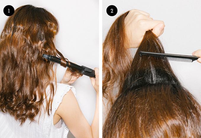 Để thực hiện kiểu tóc này, bạn hãy uốn xoăn nhẹ các lọn tóc và đánh rối phần gần chân tóc ở đỉnh đầu để tạo độ phồng cho tóc.