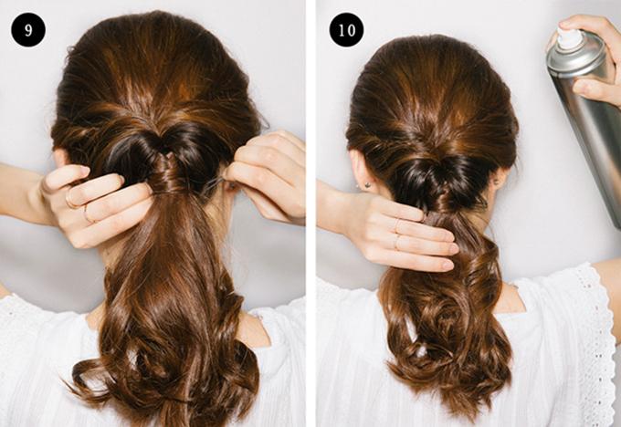 Để cố định tóc, bạn sử dụng những chiếc ghim nhỏ, rồilấy một lọn tócquấn quanh chun buộc để che đi phần chun.Sau đó dùng keo xịt để giữ tóc vào nếp.