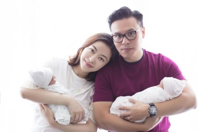 Gia đình 4 người hạnh phúc của Hùng Đại Lâm.