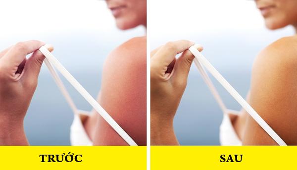 Làm dịu da cháy nắng Trộn 1 thìa nước cốt chanh với nước hoa hồng và nước ép dưa chuột, ngâm một miếng vải vào hỗn hợp rồi đắp lên vùng da bị cháy nắng trong 30 phút. Dưa chuột và chanh là chất tẩy trắng tự nhiên sẽ làm giảm sự đỏ da. Vitamin C trong chanh làm giảm thiểu tổn thương da và làm sáng các đốm đen. Lưu ý, không nên tiếp xúc với ánh nắng mặt trời sau khi sử dụng liệu pháp này.
