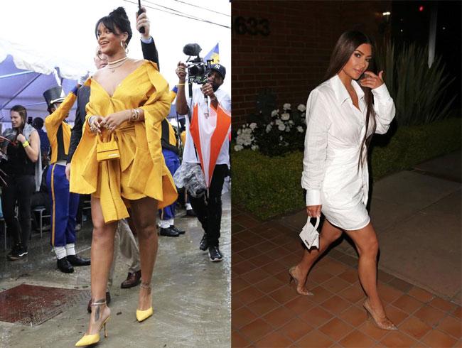 Le sac Chiquito lấy lòng nhiều tín đồ thời trang thế giới như Rihanna (bên trái) và Kim Kardashian (bên phải).