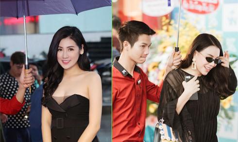 Tú Anh, Trà Ngọc Hằng đội mưa đi event ở Hà Nội