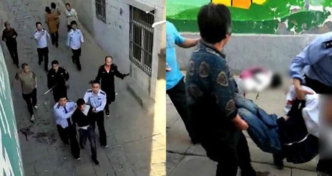 Hiện trường vụ án là một con hẻm gần trường trung học ở huyện Mễ Chi, tỉnh Thiểm Tây, Trung Quốc: Ảnh: Weibo.