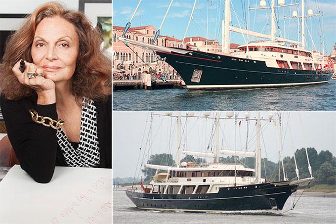 Tuy nhiên, nghệ sĩ sở hữu du thuyền đắt nhất thế giới phải kể đến nhà thiết kế thời trang Diane Von Furstenberg. Ngôi sao người Mỹ gốc Bỉ tậu chiếc thuyền buồm có giá tới 150 triệu USD, gấp đôi của Diddy.