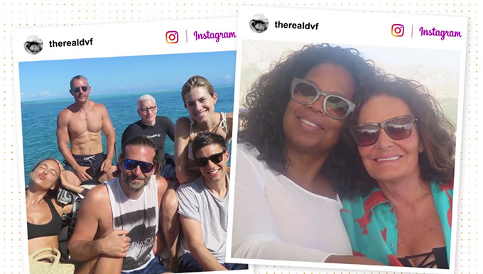 Nhà thiết kế thời trang từng mời nhiều bạn bè nổi tiếng đi chơi trên du thuyền của bà như Oprah Winfrey, MC Anderson Cooper, siêu mẫu Irina Shayk...