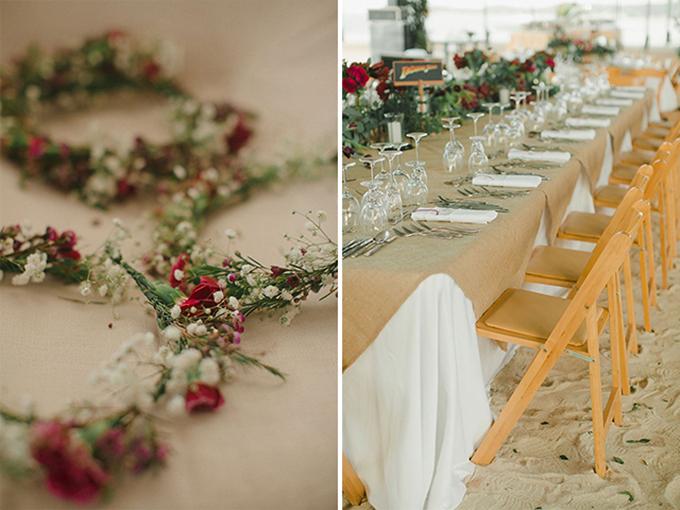... cho đến ghế ngồi, khăn trải bàn. Uyên ương còn dành tặng những vòng hoa nhỏ màu đỏ trắng cho khách mời.
