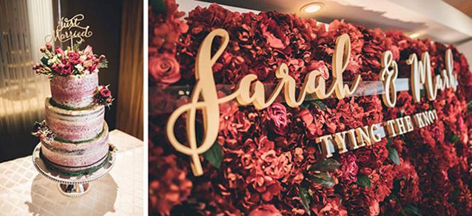 Khu vực chụp hình với sắc đỏ mận rực rỡ tạo không khí tươi vui, mang đậm nét cá tính riêng và nổi bật. Bánh cưới được điểm xuyết bởi sắc đỏ thể hiện nét tinh tế và hiện đại.