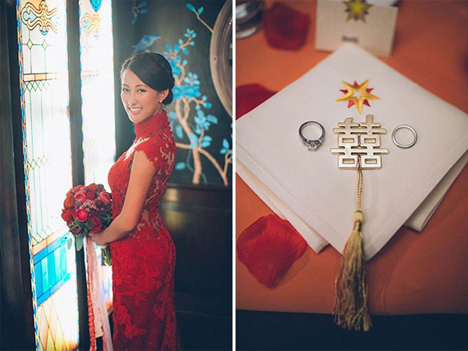 Cô dâu diện phục trang màu đỏ nổi bật trong hôn lễ.