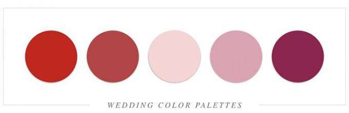 Đỏ và đỏ mận là sự pha trộn màu hoàn hảo, tạo nên nét lãng mạn cho đám cưới sử dụng dải màu này.