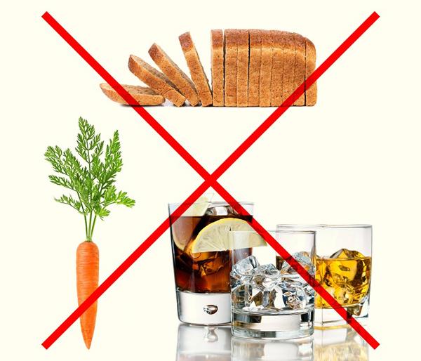 Các loại thực phẩm không được sử dụng trong chế độ ăn kiêng phi hành gia gồm: nước trái cây, sô đa, rượu, muối, đường, rau củ cải (khoai tây, cà rốt, củ cải đường, mùi tây), cơm, mì ống, bánh mì, ngũ cốc và các loại thịt xông khói.