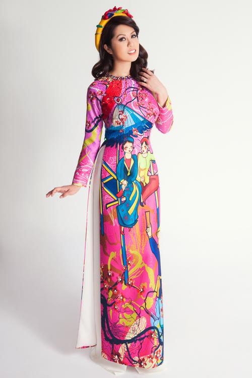 Áo dài cô dâu lấy cảm hứng từ bức tranh dân gian Việt Nam.