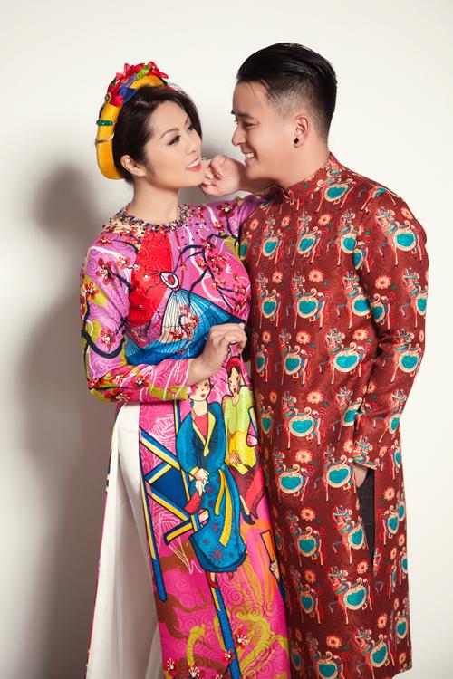 Đối với những cặp muốn tạo nét phá cách và mong muốn đem tới sự vui nhộn cho đám cưới của mình, đôi vợ chồng trẻ gợi ý chọn áo dài họa tiết độc đáo.