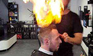 Salon ở Thổ Nhĩ Kỳ cắt tóc cho khách bằng lửa