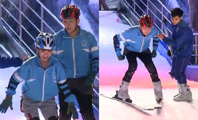 Khi đã quen với bề mặt dốc, đôi vợ chồng bắt đầu thực hành trượt. Trong khi Khởi My khá lo lắng, sợ hãi và liên tục từ chối thì Kelvin Khánh lại tỏ ra tự tin và chuyên nghiệp.